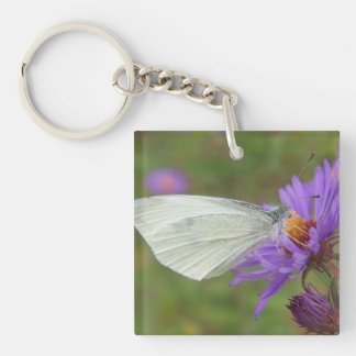 Small Cabbage White Butterfly Single-Sided Square Acrylic Key Ring