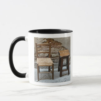 Small chair and stool, Pienza, Italy Mug