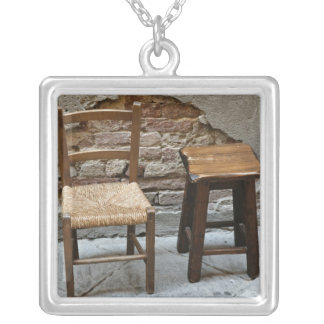 Small chair and stool, Pienza, Italy Silver Plated Necklace