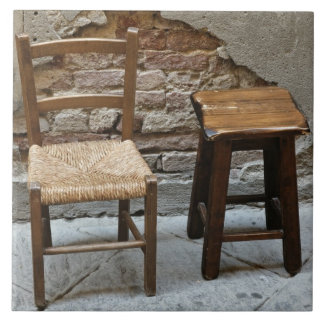 Small chair and stool, Pienza, Italy Tile