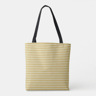 Small chevron pattern yellow ochre and pale green tote bag