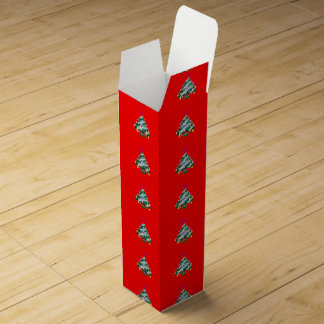 Small Christmas Trees on Red Wine Gift Box