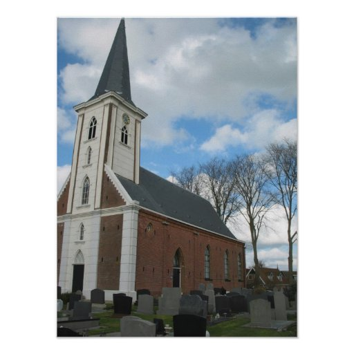 Small Church, Cemetery, Trees Britsum Photo Poster
