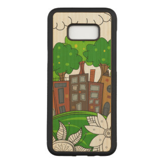 Small City Illustration Carved Samsung Galaxy S8+ Case
