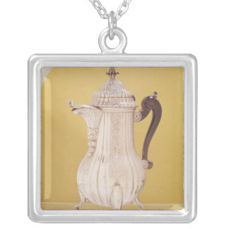Small coffee pot silver plated necklace