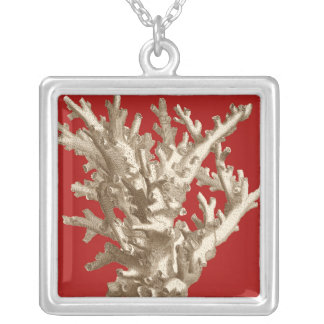 Small Coral in Red Silver Plated Necklace