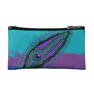 small cosmetic bag peacock feather design