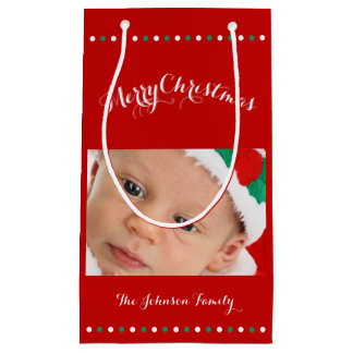 Small Custom Red Merry Christmas Gift Bags