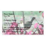 Small Cute Sparrow In The Bushes With Red Leaves Business Card