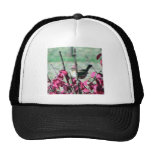 Small Cute Sparrow In The Bushes With Red Leaves Mesh Hats