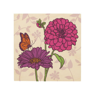 Small daisy, dahlia & butterfly in pink & purple wood print