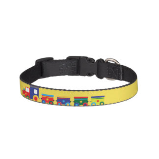 Small Dog Collar Antique Trains Yellow