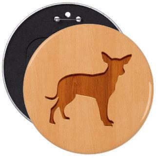 Small dog engraved on wood design 6 cm round badge