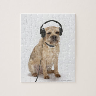 Small dog wearing headphones jigsaw puzzle