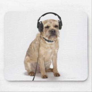 Small dog wearing headphones mousepad