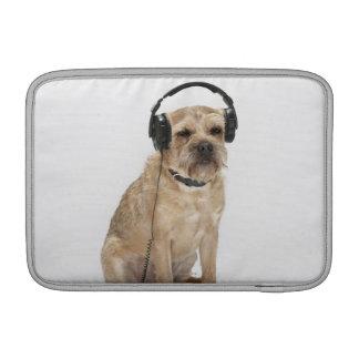 Small dog wearing headphones sleeve for MacBook air