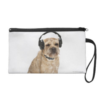 Small dog wearing headphones wristlet