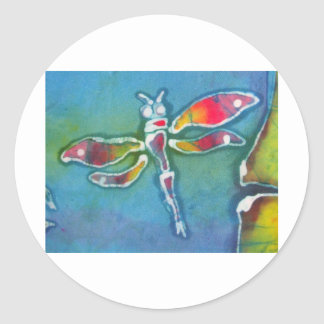 small dragonfly classic round sticker