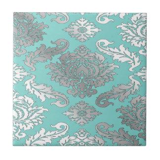Small Elegant Chic Teal Blue Damask Tile