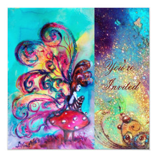SMALL ELF OF MUSHROOMS ,pink green blue sparkle Card