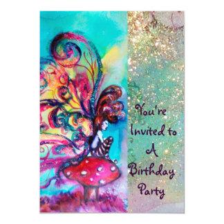 SMALL ELF OF MUSHROOMS ,pink yellow blue sparkle 13 Cm X 18 Cm Invitation Card