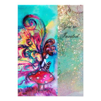 SMALL ELF OF MUSHROOMS pink yellow blue sparkle Personalized Invitations