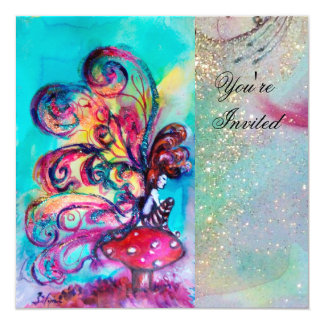 SMALL ELF OF MUSHROOMS ,pink yellow blue sparkle 13 Cm X 13 Cm Square Invitation Card