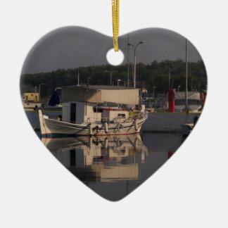 Small Fishing Boat Ceramic Heart Decoration