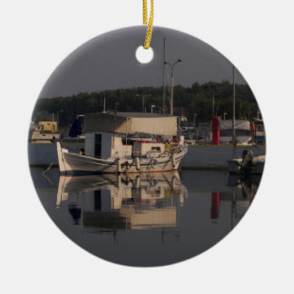 Small Fishing Boat Round Ceramic Decoration