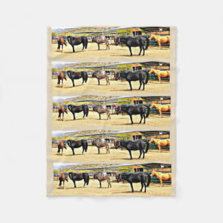"Small Fleece Blanket ""Four Horses and A Donkey"""