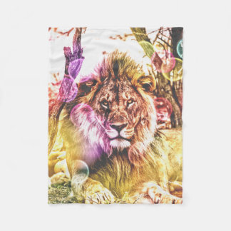 small fleece lion blanket