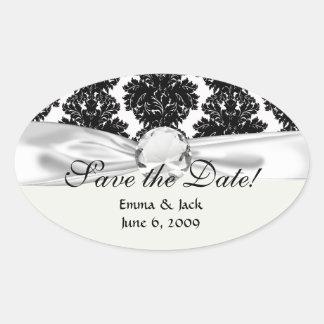 small flourish black white damask design oval sticker