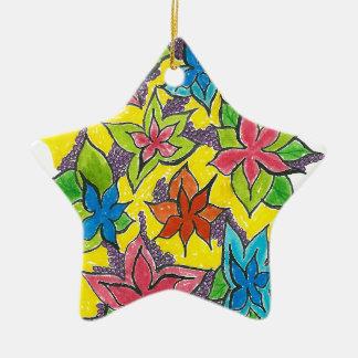 Small Flower Garden Ceramic Star Decoration