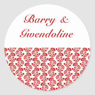 Small Flower Pattern Red + Custom Color Round Sticker