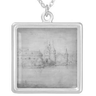 Small fortified island, Amsterdam, 1562 Silver Plated Necklace