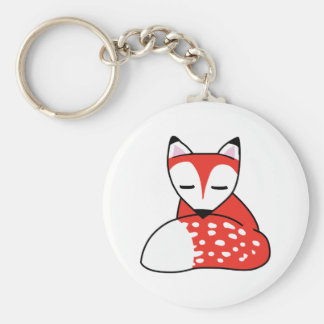 SMALL FOX BASIC ROUND BUTTON KEY RING