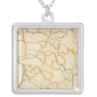 Small French Rivers Outline Silver Plated Necklace