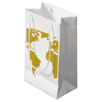 Small Gift Bag or Favor Bag - Gold World Map