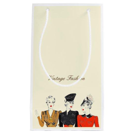 Small gift bag vintage ladies fashion cream