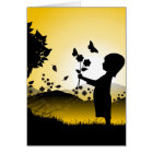 Small Girl Picking Flowers Illustration Card