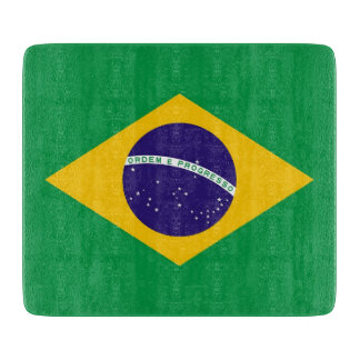 Small glass cutting board with flag of Brazil
