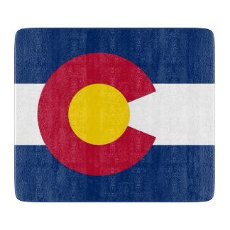 Small glass cutting board with flag of Colorado
