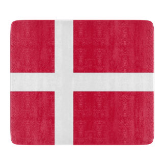 Small glass cutting board with flag of Denmark