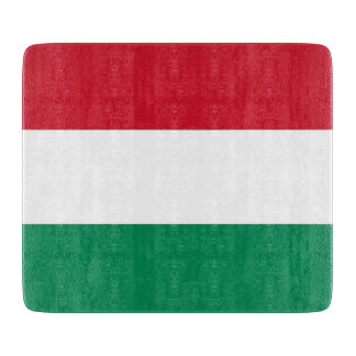 Small glass cutting board with flag of Hungary