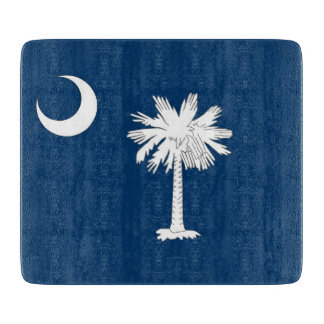 Small glass cutting board with South Carolina flag