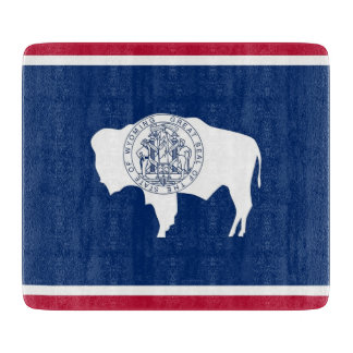Small glass cutting board with Wyoming flag