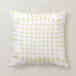 Small Gold Watercolor Polka Dot Pattern Throw Pillow