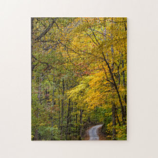 Small Gravel Road Lined With Autumn Color Jigsaw Puzzle