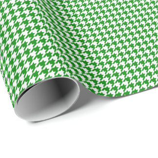Small Green and White Houndstooth Wrapping Paper