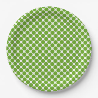 Small Green Apple Polka Dots on White 9 Inch Paper Plate